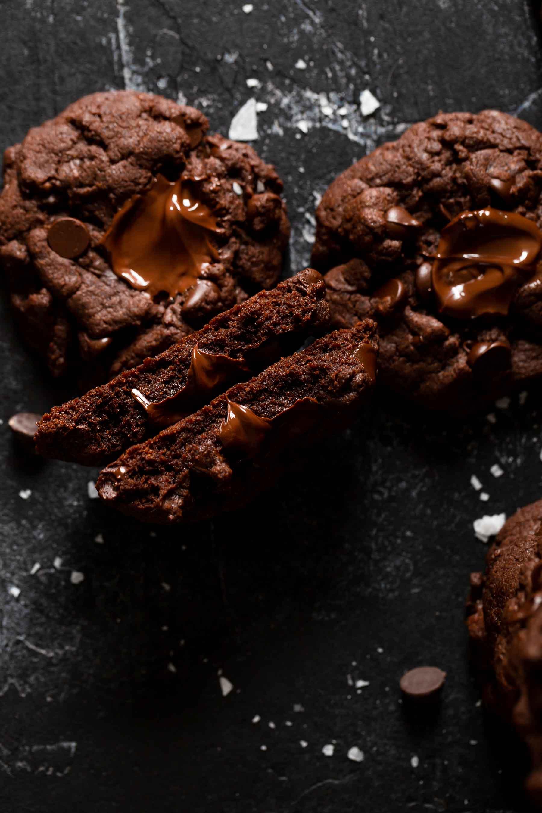 fudge cookie broken in half