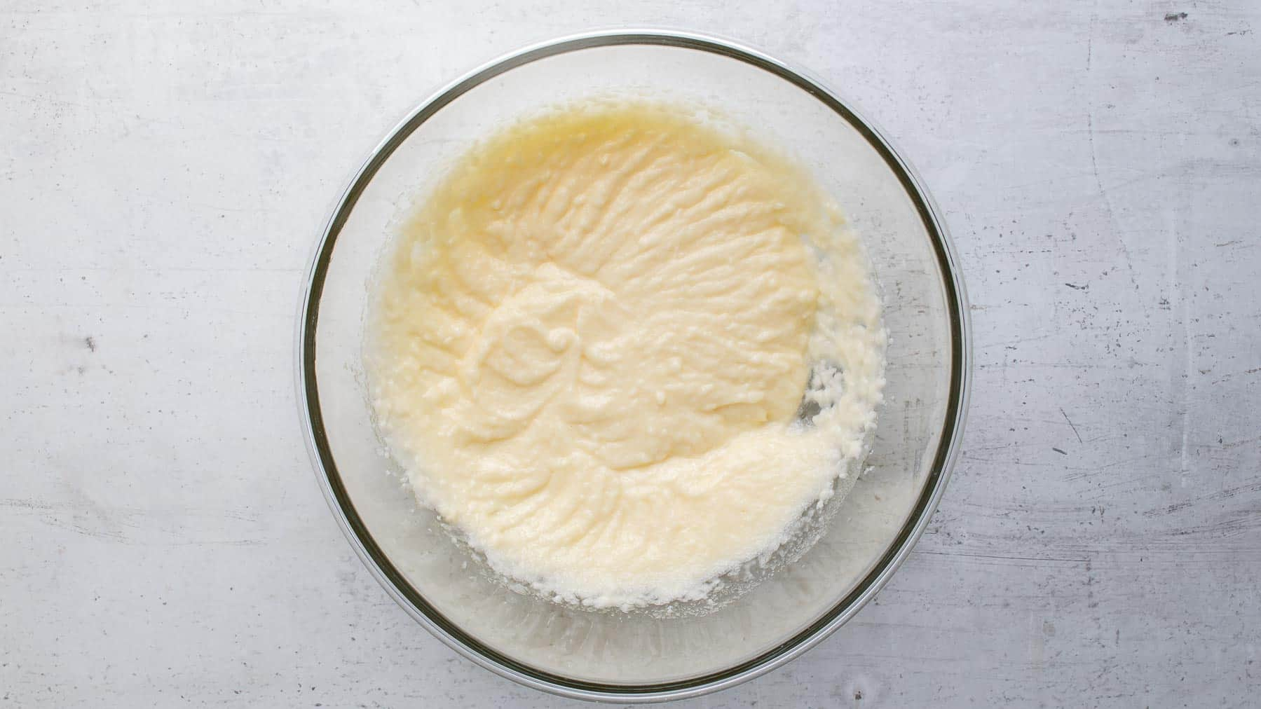 cake batter in a glass bowl
