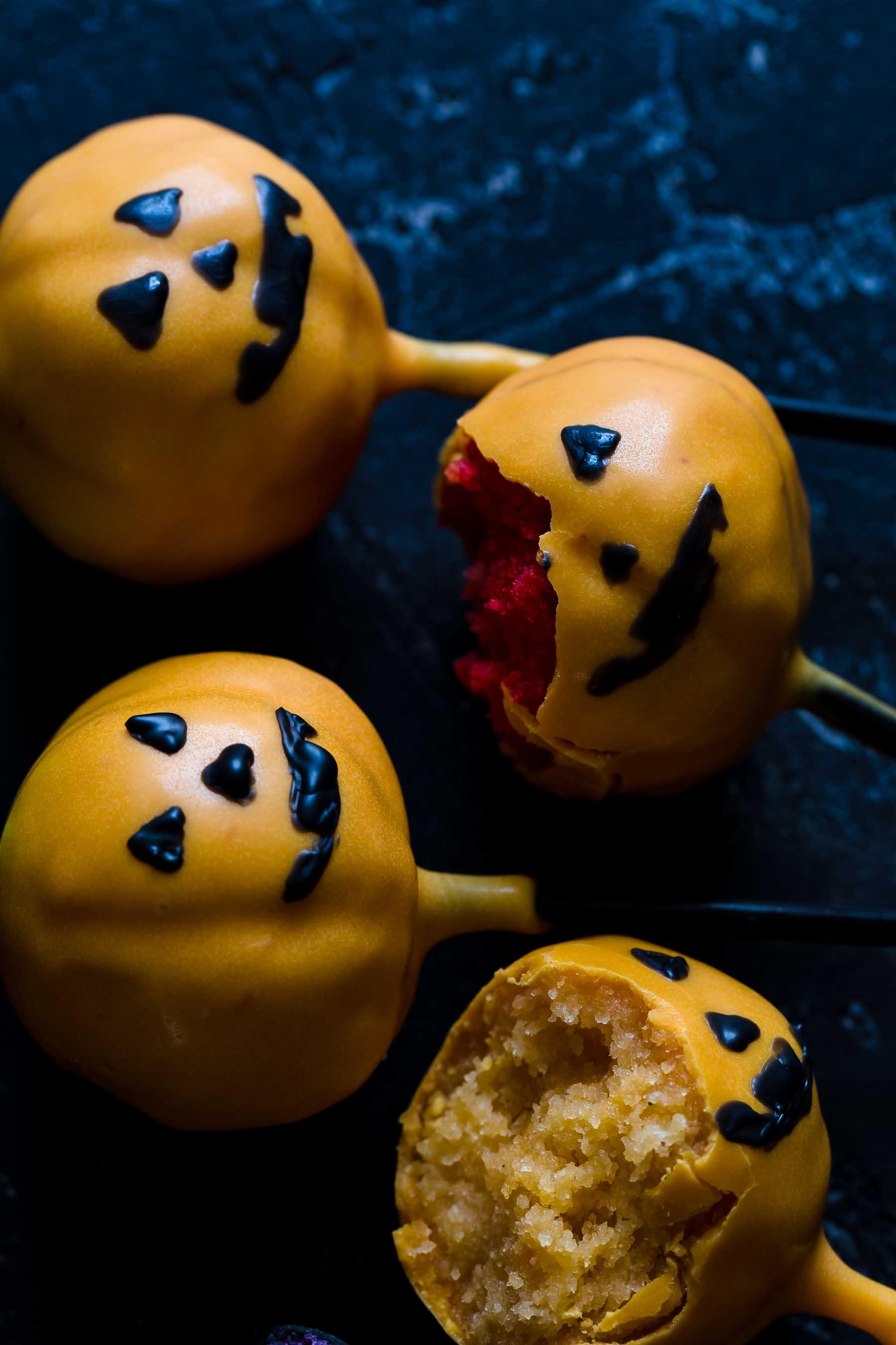 bitten halloween cake pops