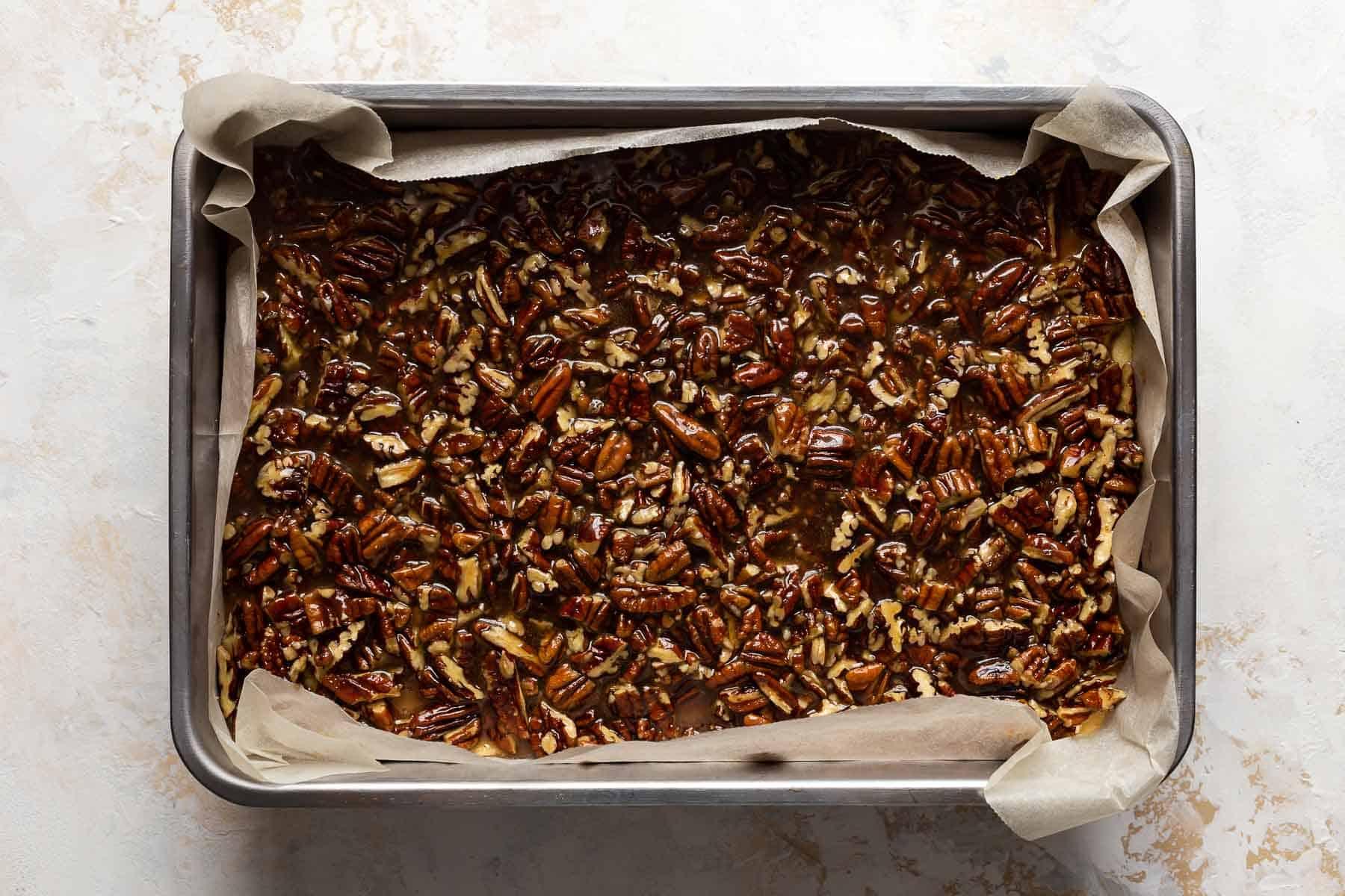pecan pie shortbread bars in pan