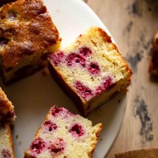 fresh raspberry cake on a plate