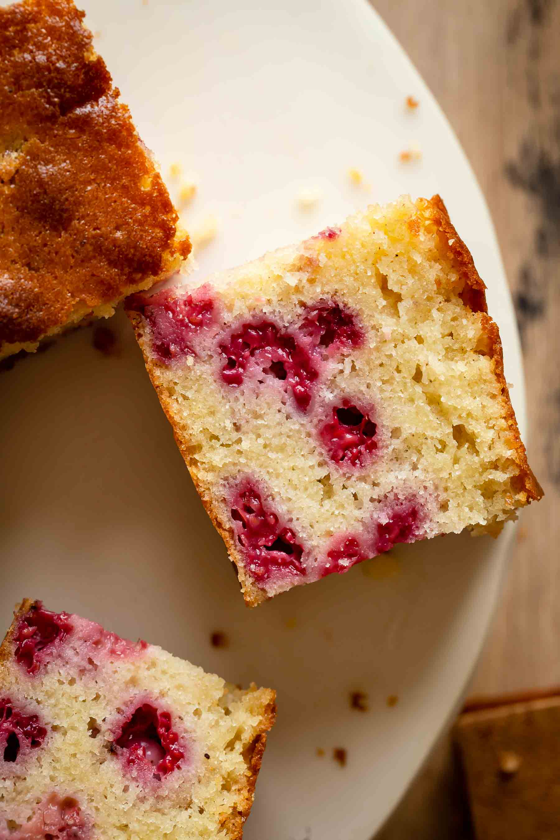 fresh fruit cake on a white plate