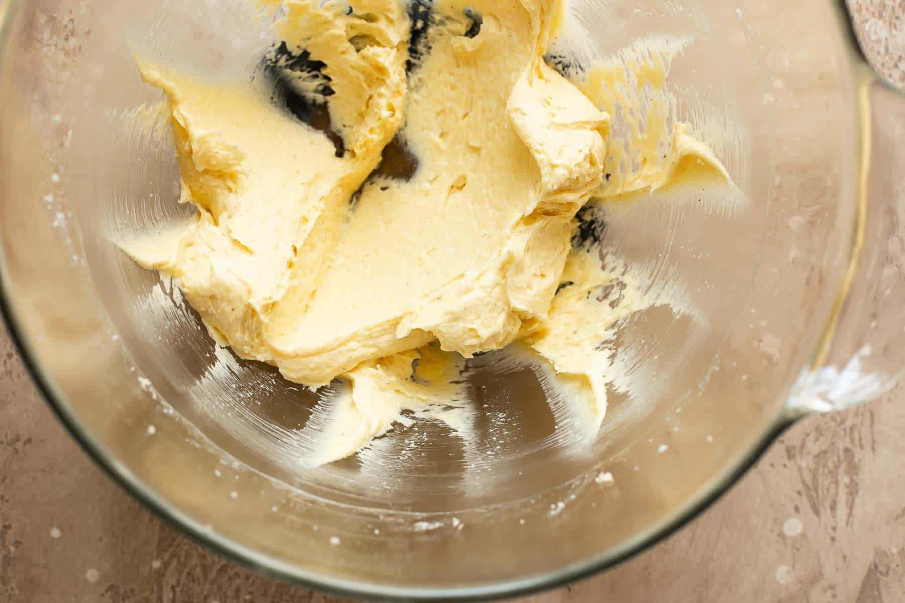 sugar and butter creamed together in bowl