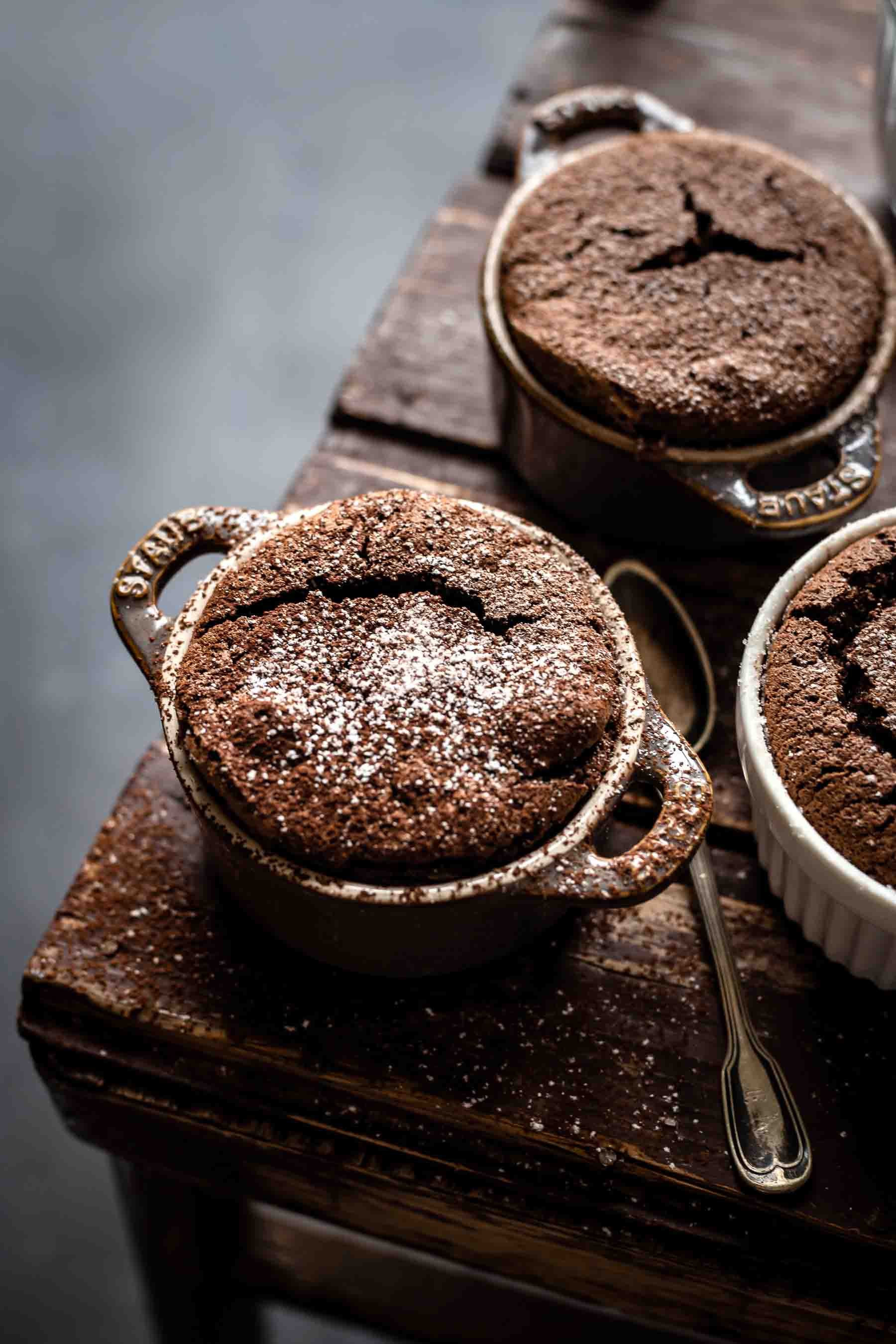 several chocolate souffles ready to eat