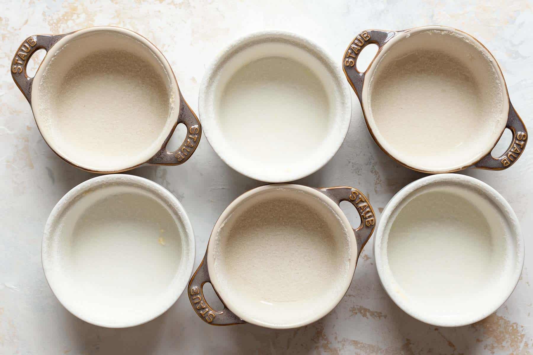 empty souffle bowls