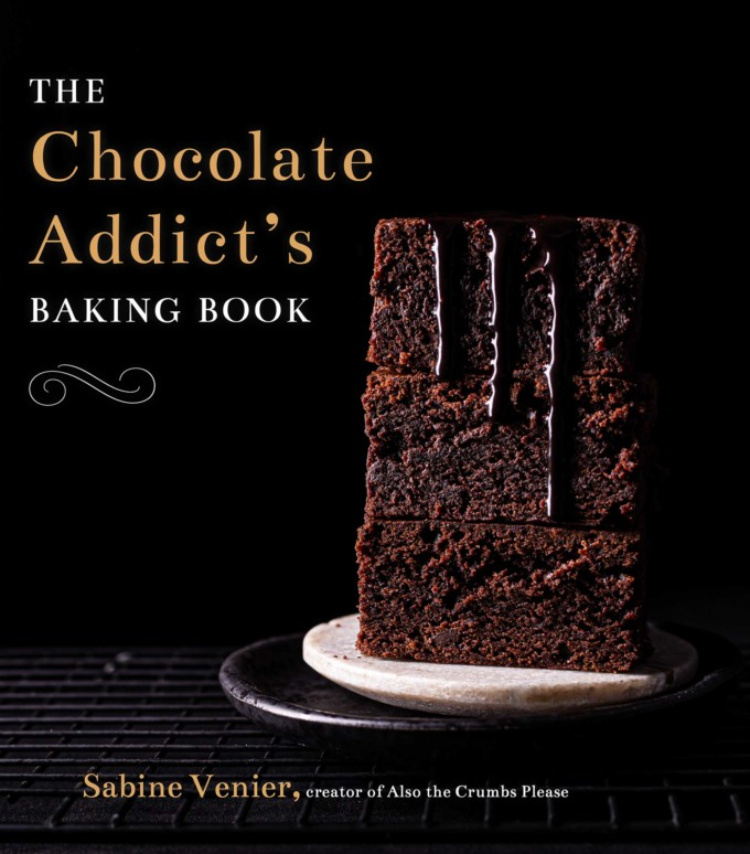 Cover page of the chocolate addicts baking book showing brownies on a dark background