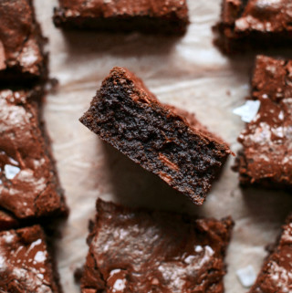 Decorative picture of baked brownies on bright paper