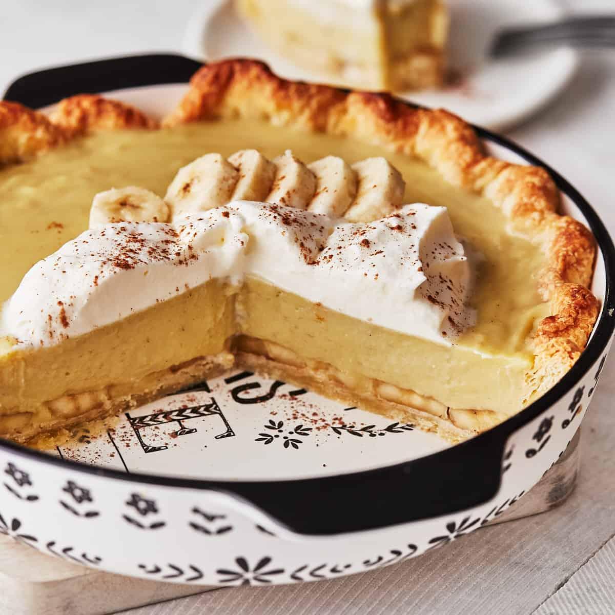 Decorative picture of cut pie in pie dish