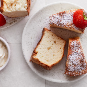 Decorative picture of angel food cake slices on a plate