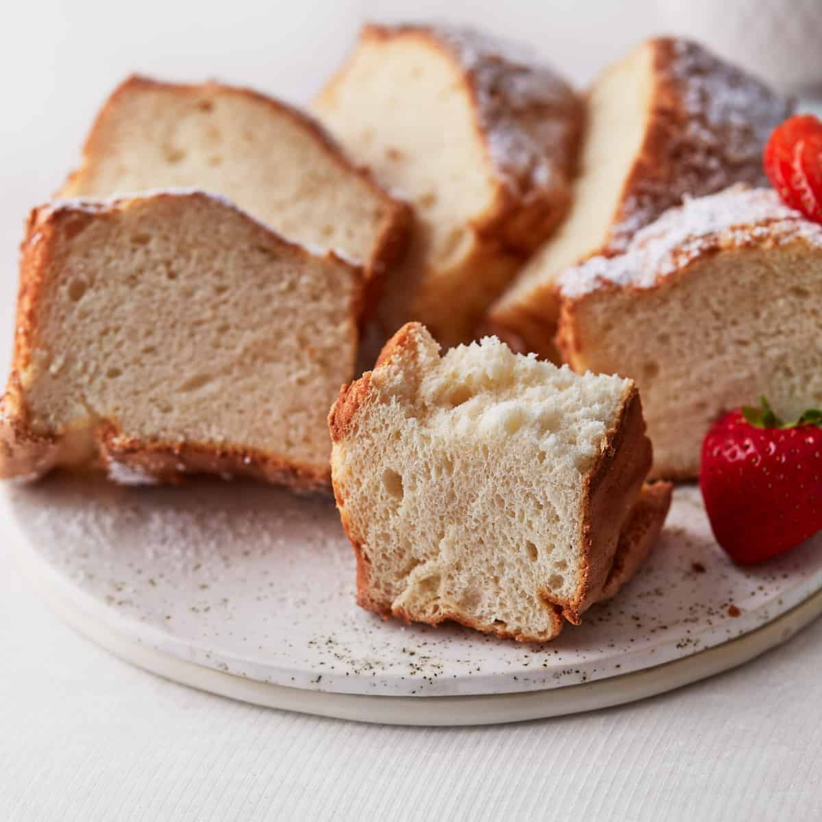 Decorative picture of angel food cake slices on a serving plate