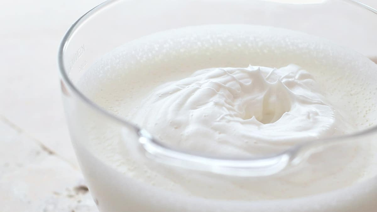 Close-up shot of showing the texture of the mixed egg whites