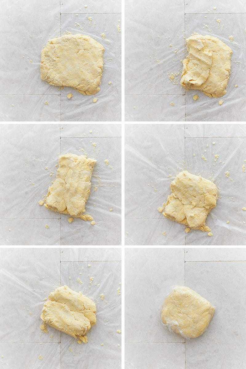 Collage of six photos showing pie crust folded according to instructions - letter style