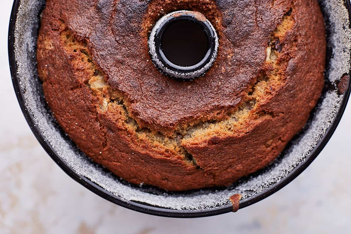 Close up of the texture of the bottom side of the bundt cake in pan