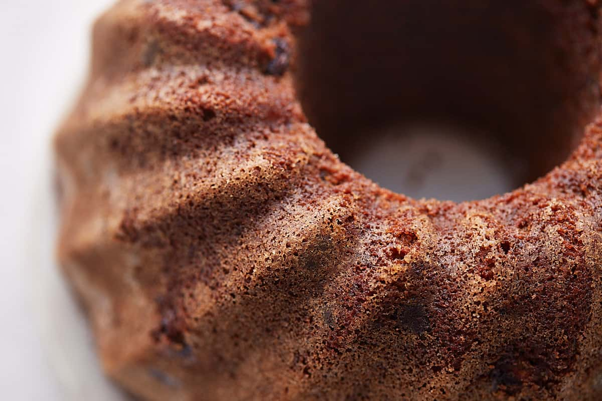 Close up of the texture of the top side of the inverted bundt cake