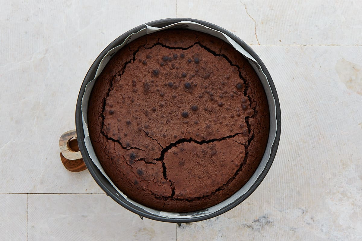 Baked cake in a springform pan
