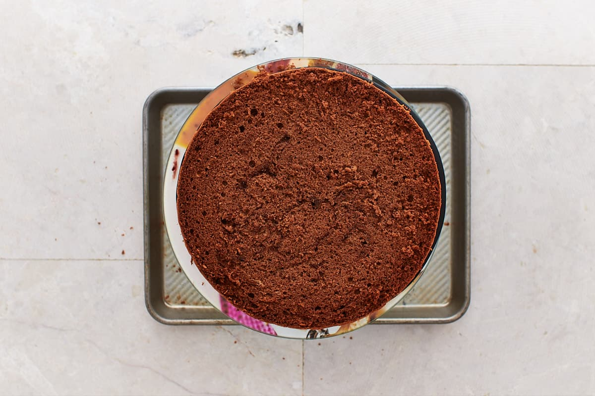 Chocolate cake layer on cake turner placed over a baking sheet
