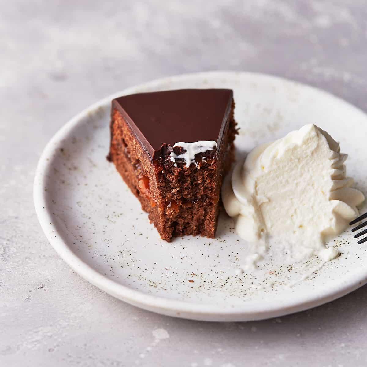 Decorative picture of bitten sacher torte on dessert plate