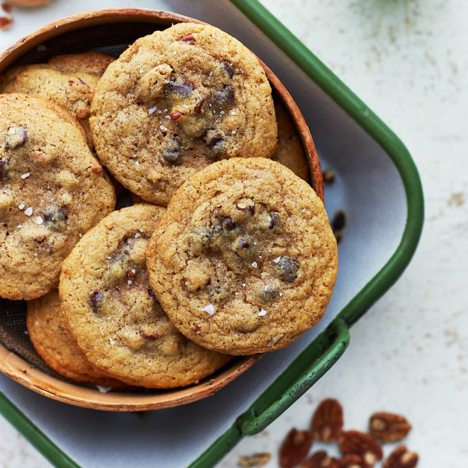 A batch of cookies in a tray