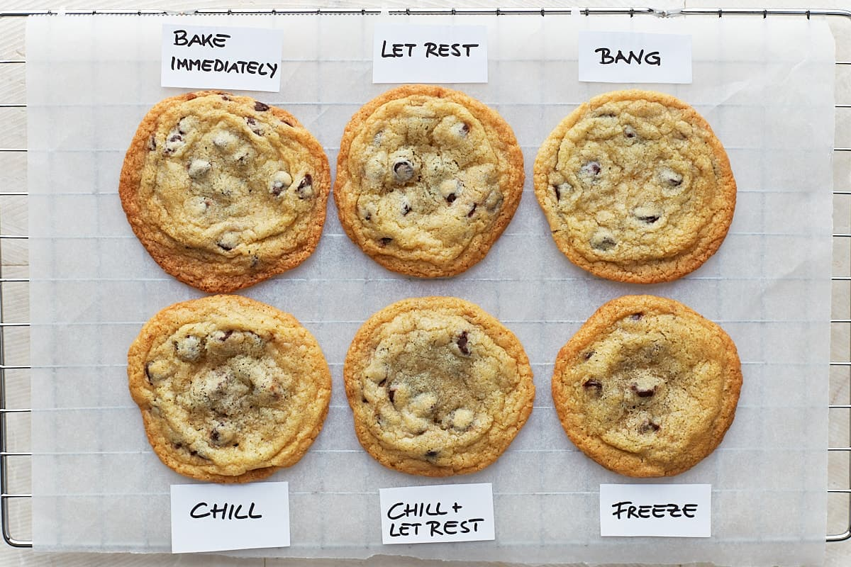 Six cookies with the labels: bake immediately, let rest, bang, chill, chill + rest, freeze