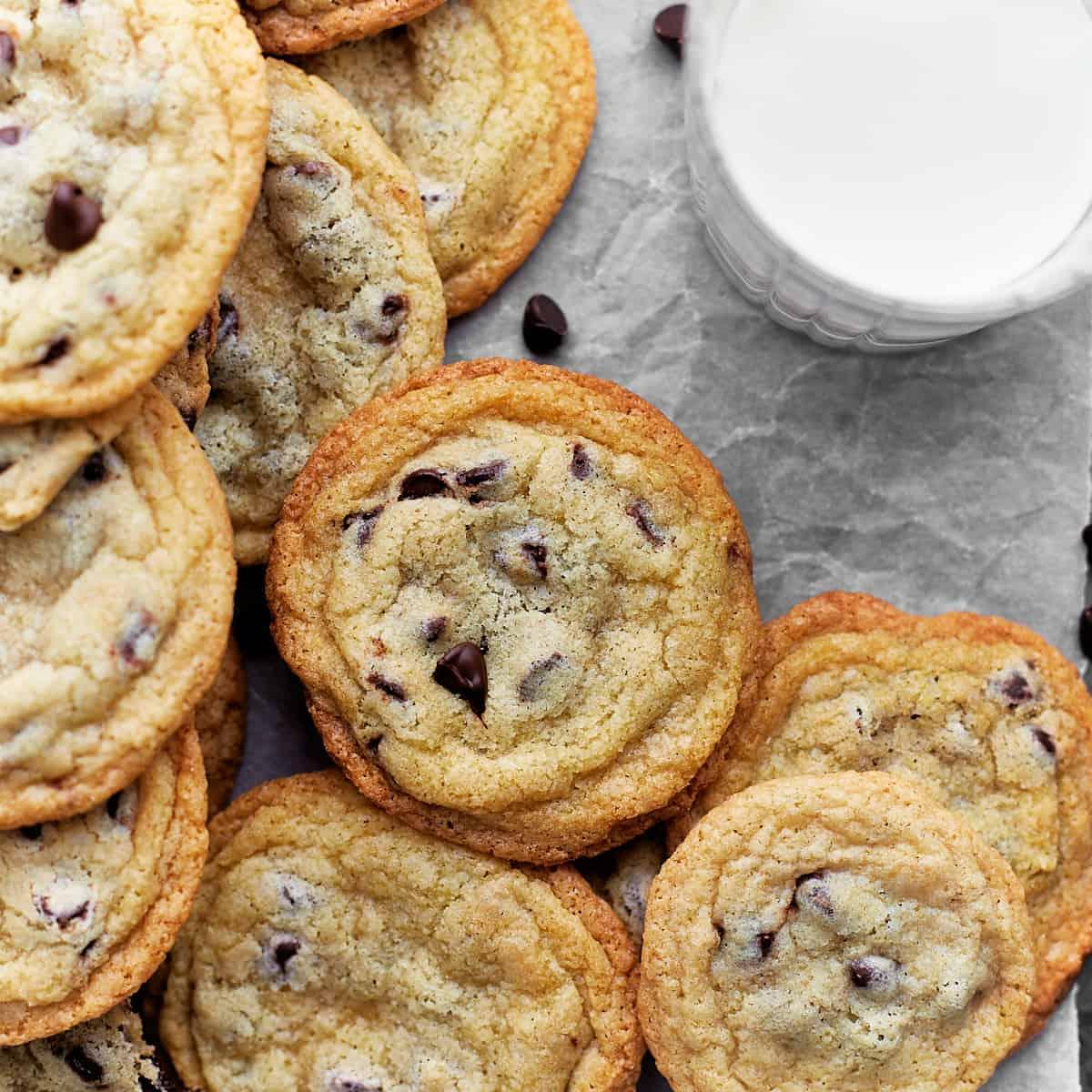 Cookies arranged around a milk glass