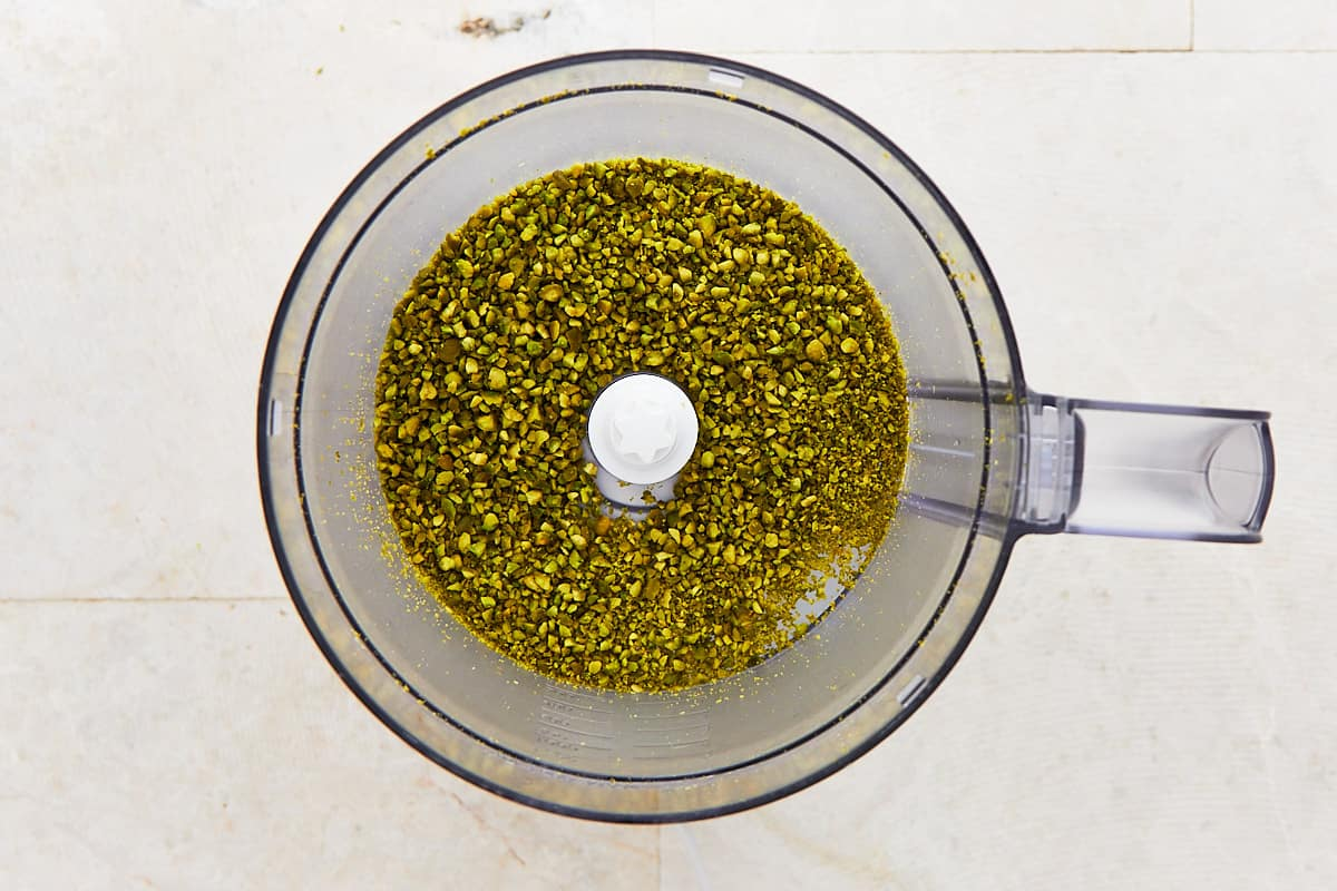Ground pistachio in a food processor