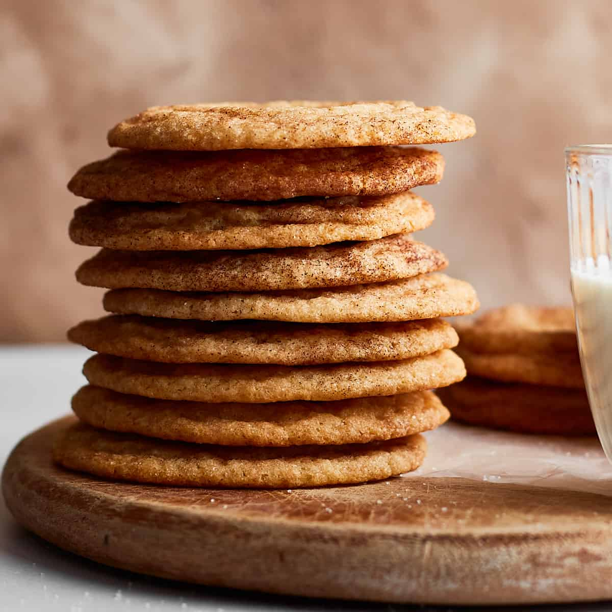 Close up of a stack of snickerdoodles