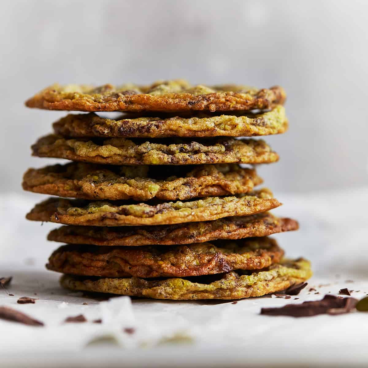 Close up of a stack of cookies