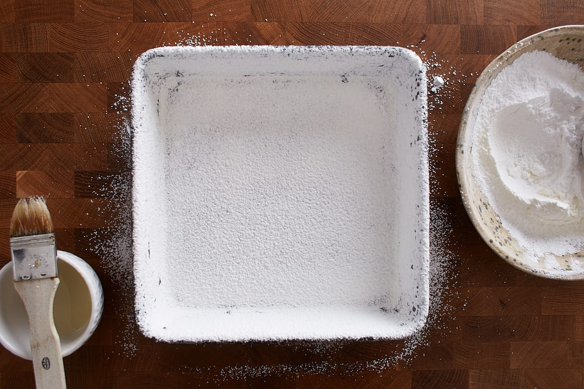 Pan dusted with powdered sugar and cornstarch