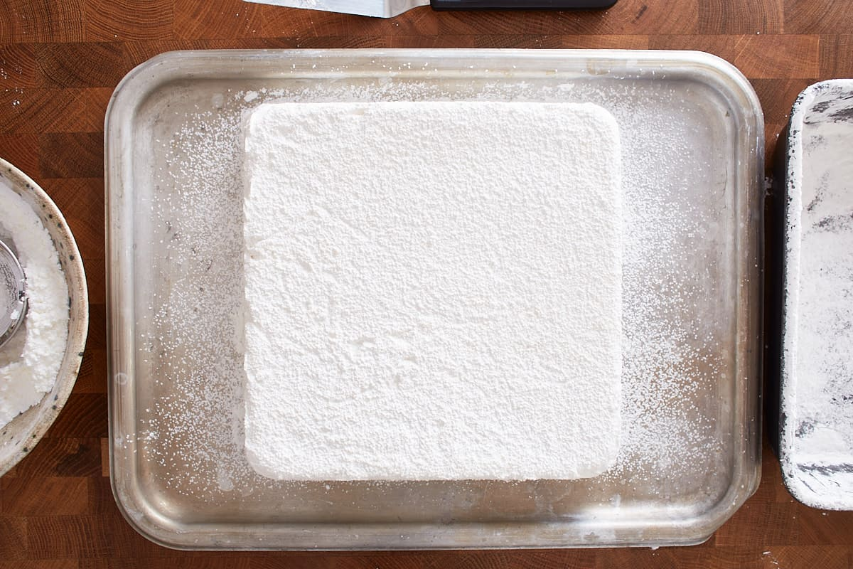 Sugar dusted marshmallow block on a tray