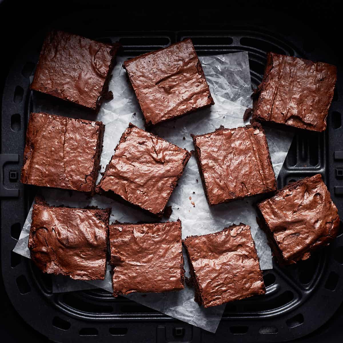 Cut brownie slices in an air fryer basket