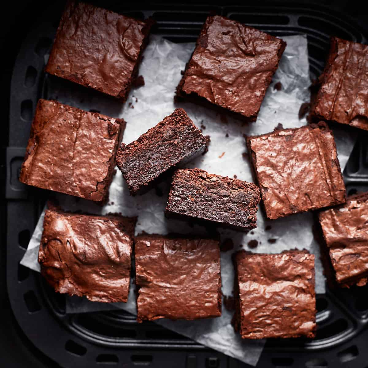 Sliced brownies on a white paper