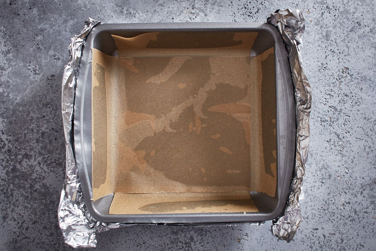 Parchment paper lined baking pan wrapped in aluminium foil
