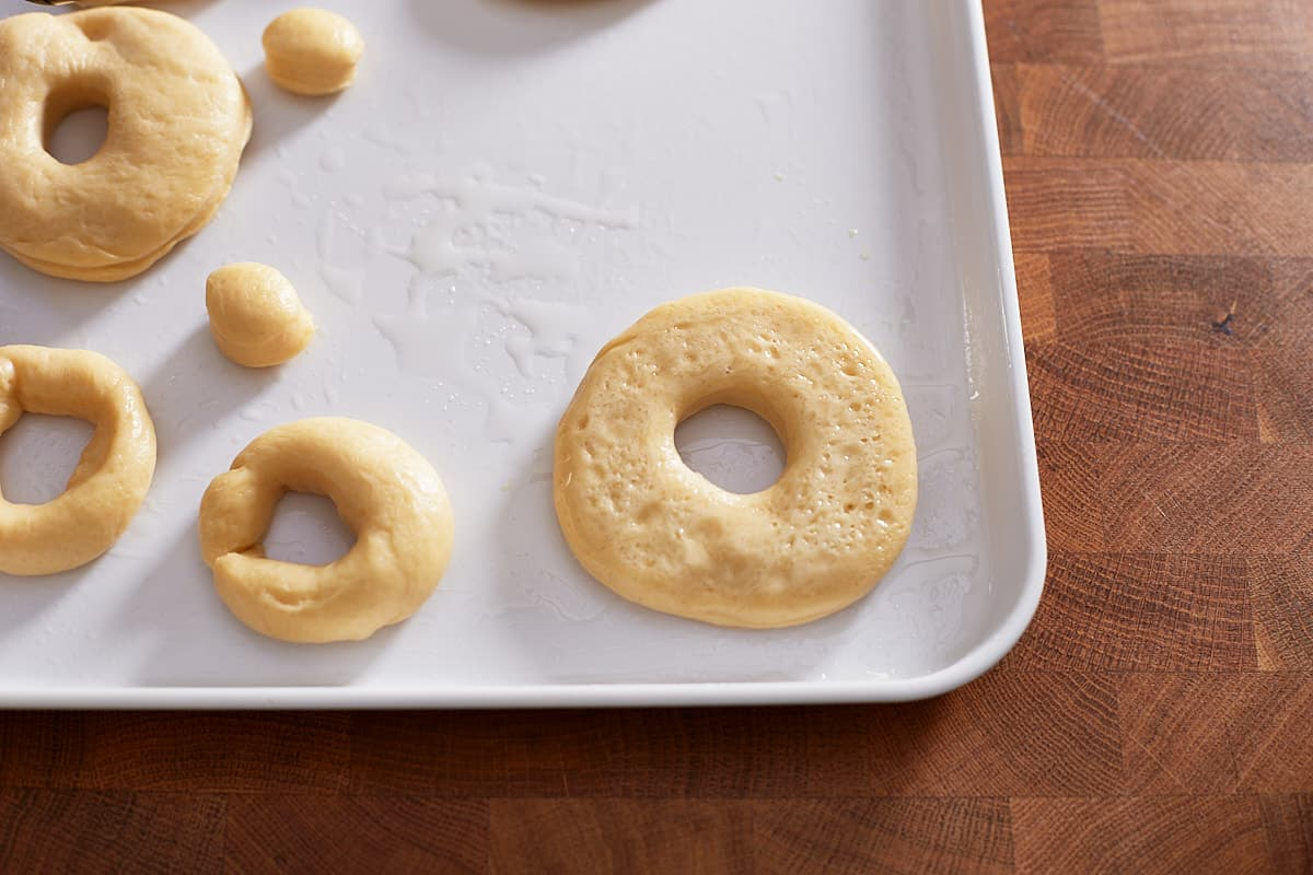 Raw dough rings lightly covered in oil