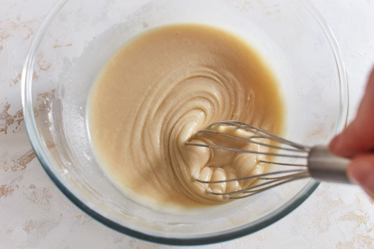 Flour, baking powder, salt, sugar, and milk whisked together