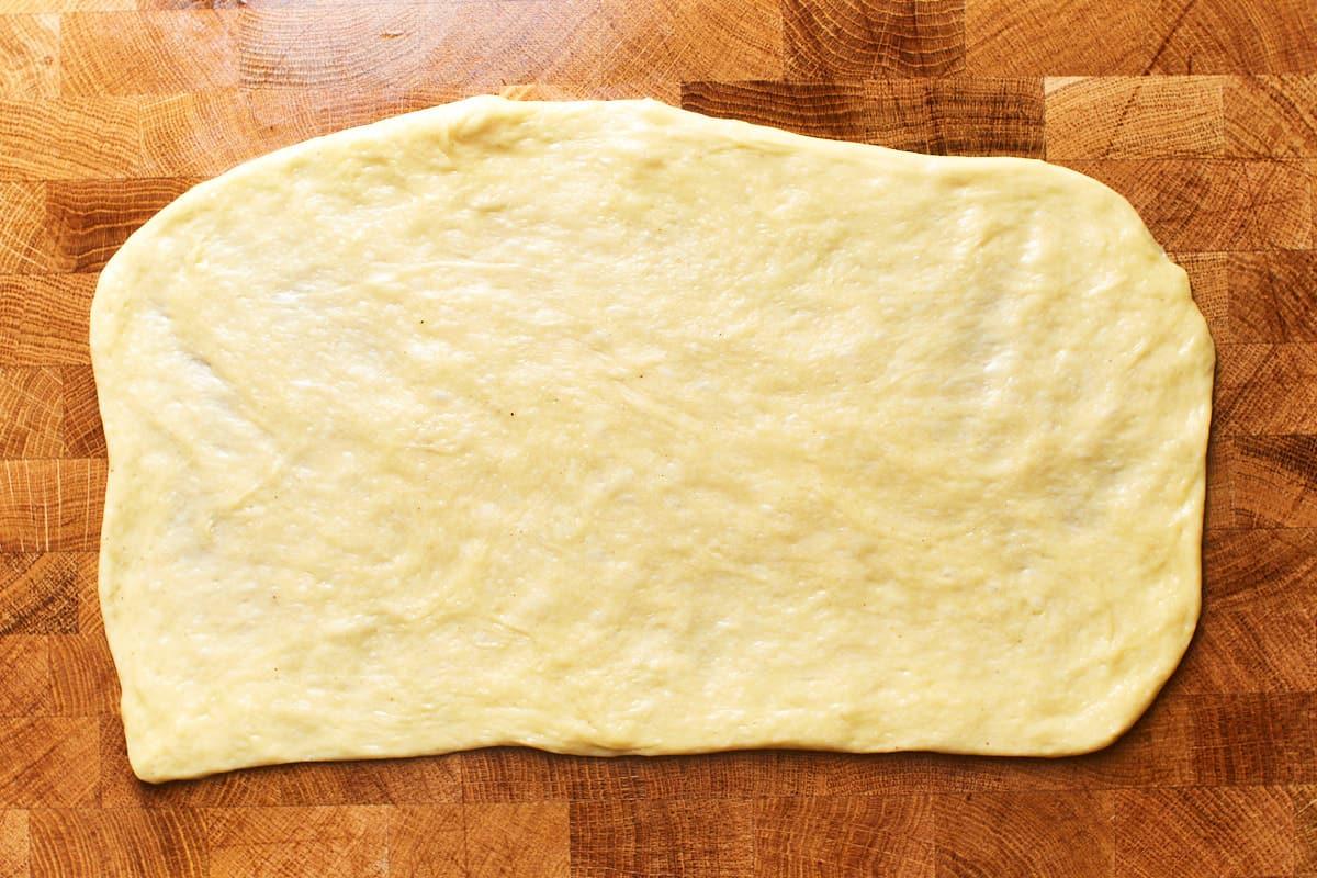 Dough flatten into a thin rectangle