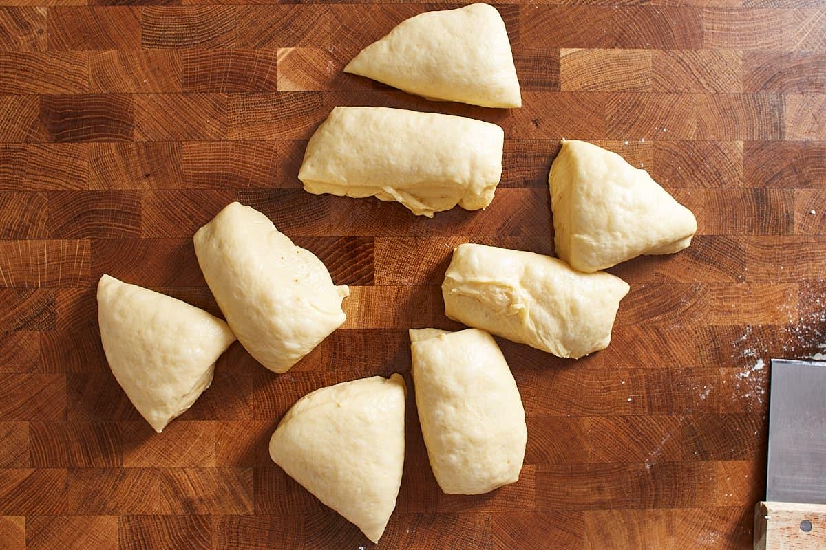 Dough cut into 8 equal pieces