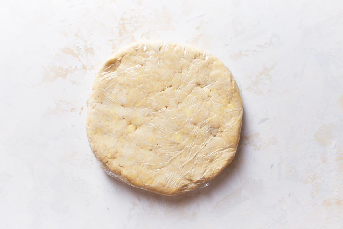 Pie crust wrapped in plastic foil