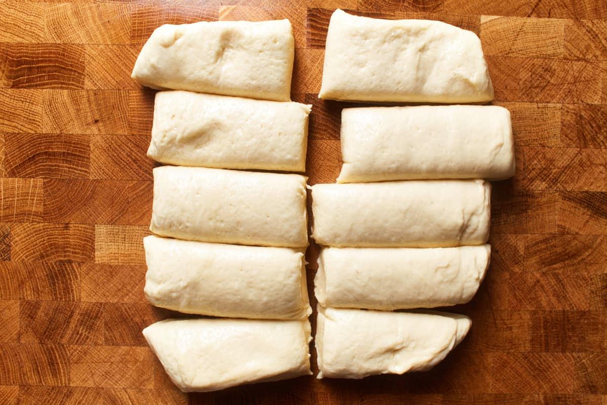 Dough cut into 10 equal pieces