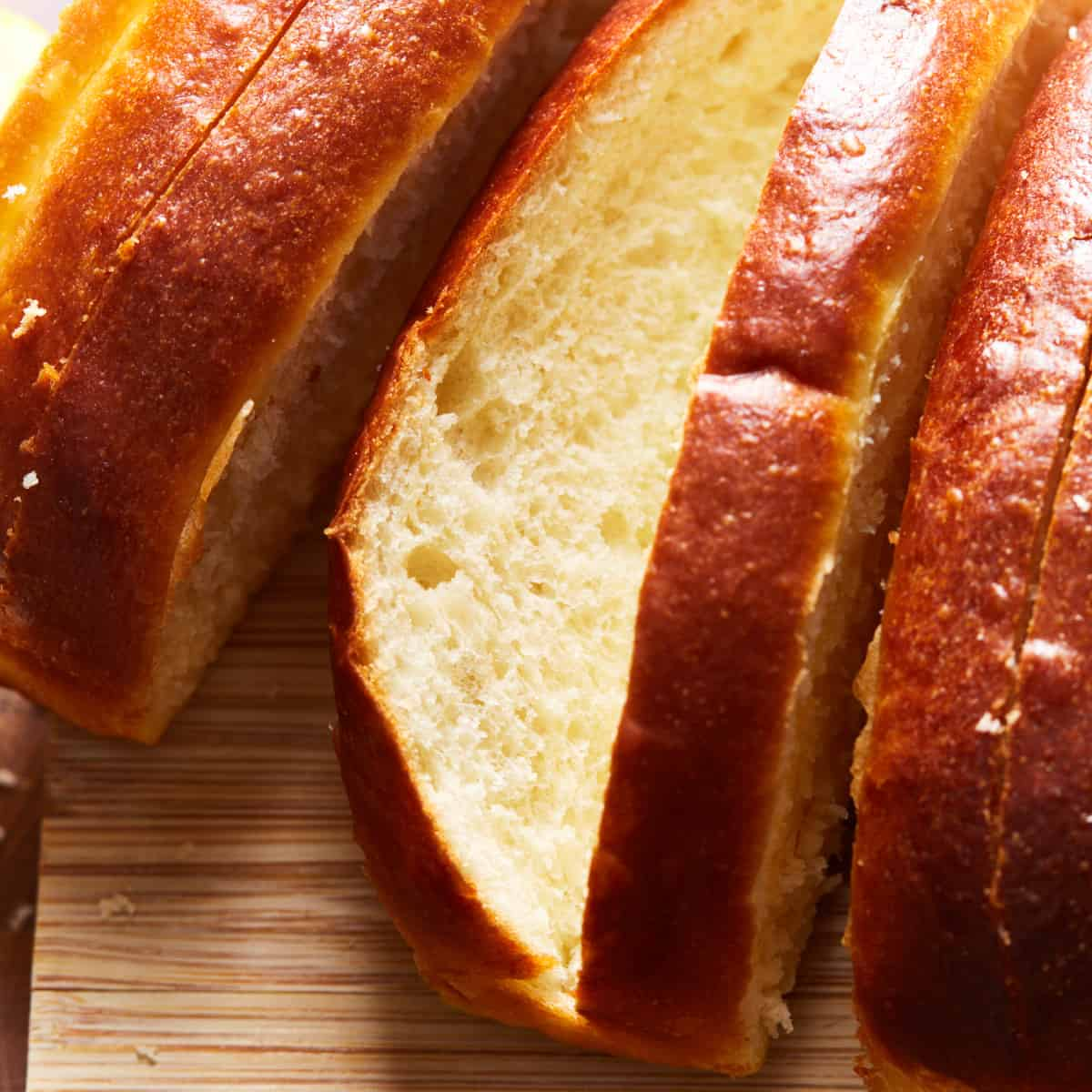 Close up of the texture of the baked and cut rolls