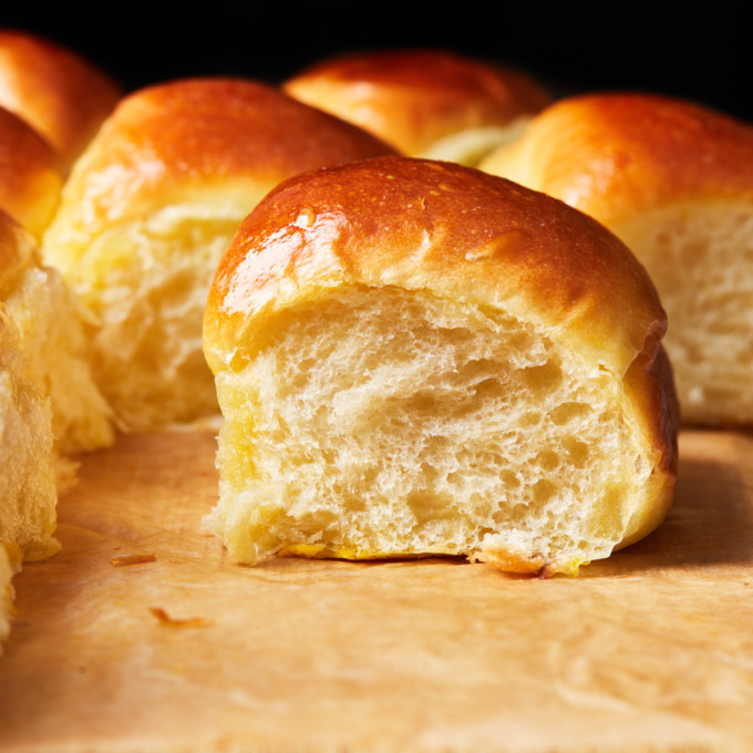 Close up of a dinner roll