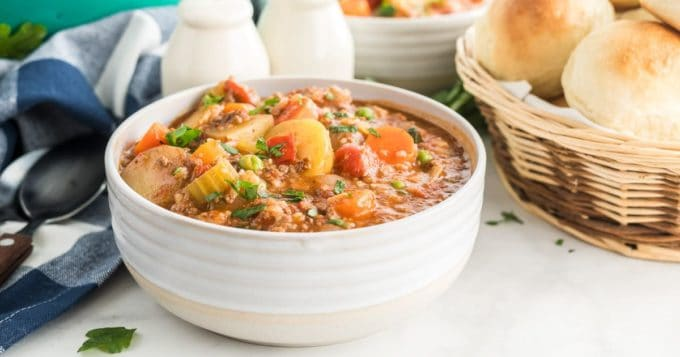 A bowl of hamburger stew