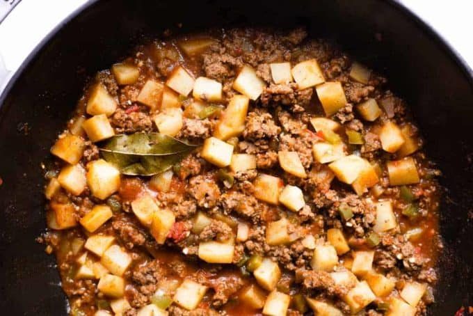 Cooked picadillo in a pot