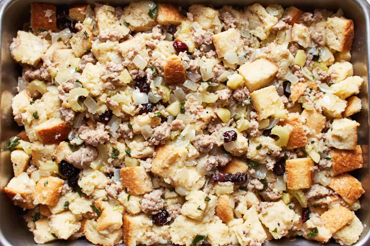 Unbaked stuffing in a baking pan