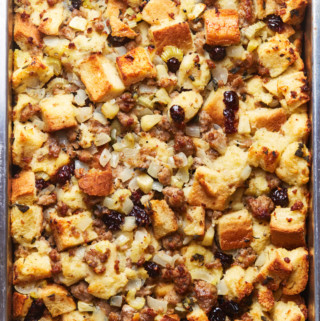 A baking pan filled with freshly baked sausage stuffing