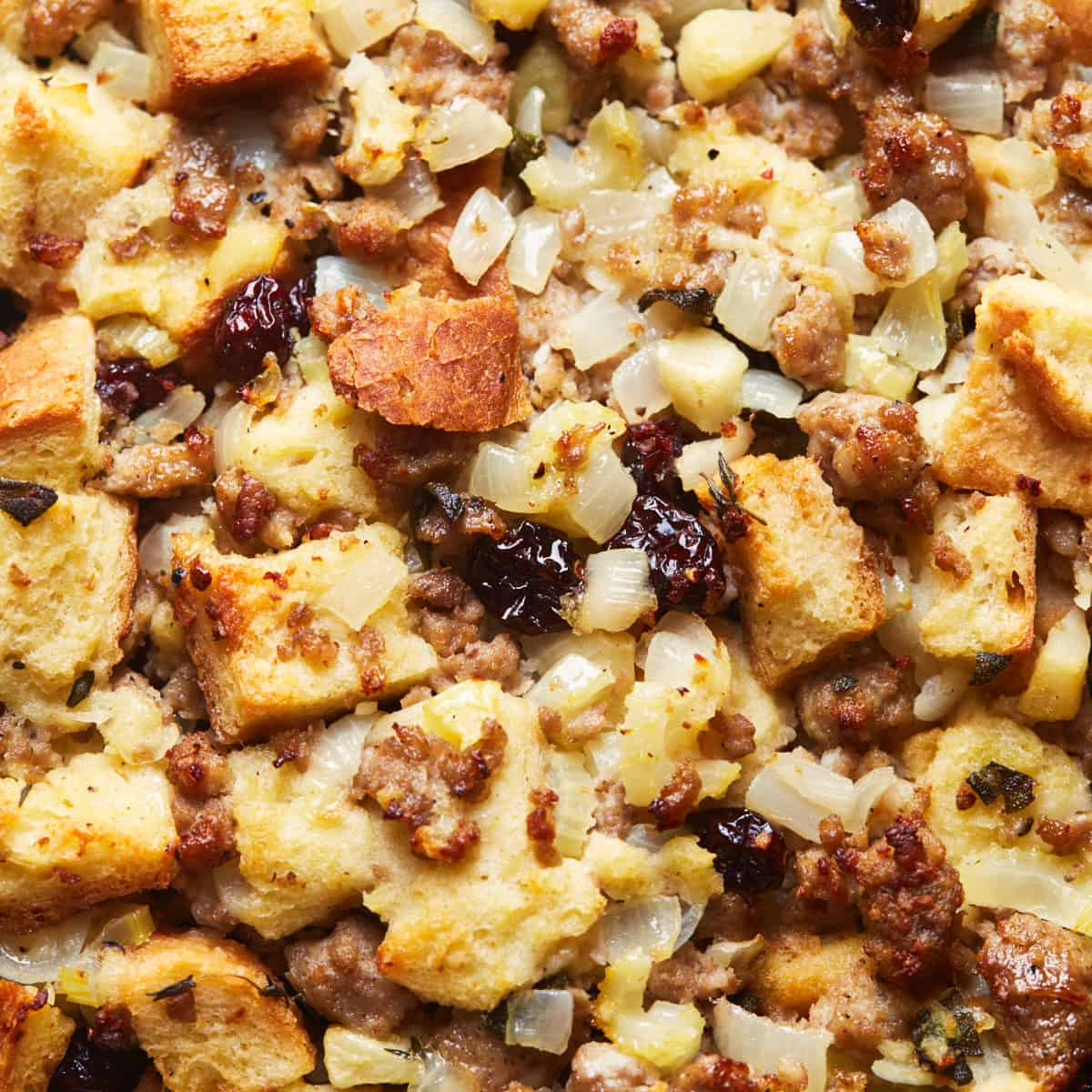 Close up of freshly baked stuffing